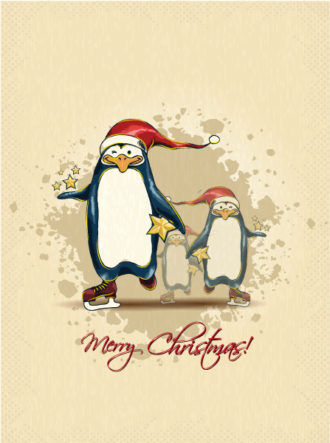 christmas vector illustration with penguins Vector Illustrations star