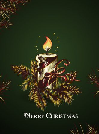 christmas vector illustration with candle and fir Vector Illustrations vector