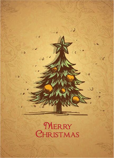 christmas vector illustration with Christmas tree Vector Illustrations star