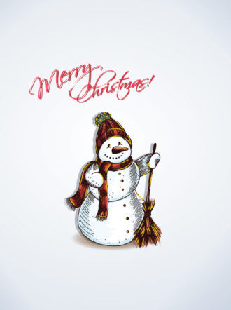 christmas vector illustration with snow man Vector Illustrations vector
