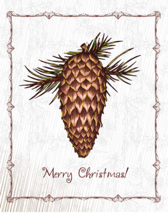 christmas vector illustration with pine cone Vector Illustrations floral