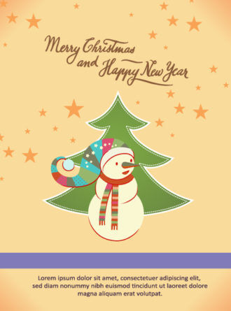 Christmas Vector illustration with christmas tree and snowman Vector Illustrations star