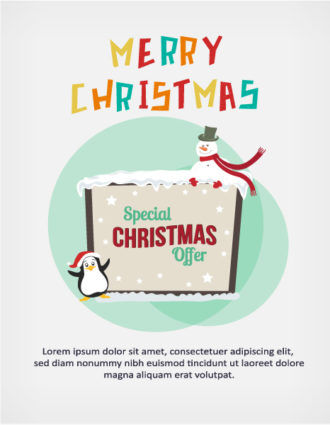 Christmas Vector illustration with penguin and snowman Vector Illustrations star