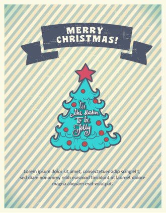 Christmas Vector illustration with christmas tree and ribbon Vector Illustrations star