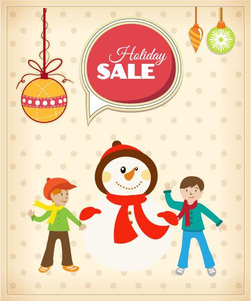 Christmas Vector illustration with snowman, kids, globe Vector Illustrations tree