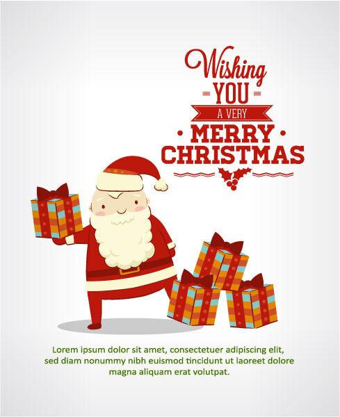 Christmas Vector illustration with santa Vector Illustrations vector
