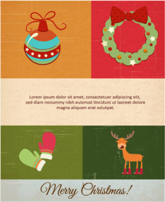 Christmas Vector illustration with Christmas wreath, globe, gloves and deer Vector Illustrations vector