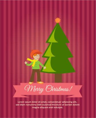 Christmas Vector illustration with tree, kid Vector Illustrations tree