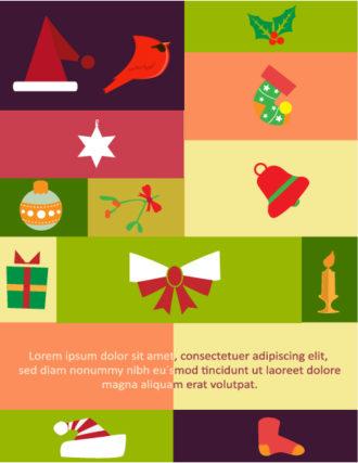 Christmas Vector illustration with ribbon, santa, snowman, tree, globe, sock, star, candy Vector Illustrations star