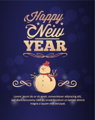 Happy New Year  Vector illustration with snowman Vector Illustrations old