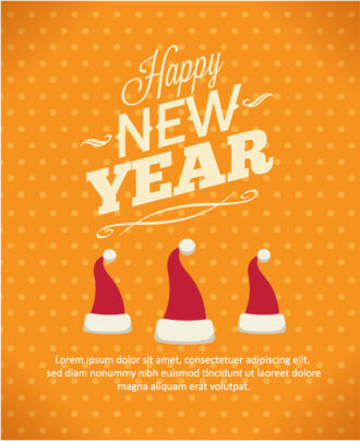 Happy New Year  Vector illustration with santa hat Vector Illustrations old
