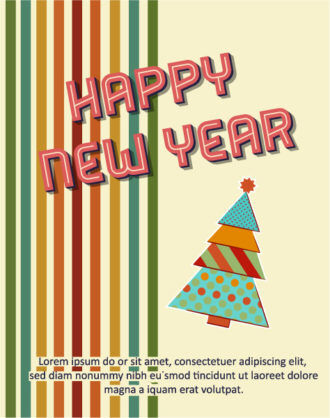 Happy New Year  Vector illustration with  chrismtas tree Vector Illustrations old