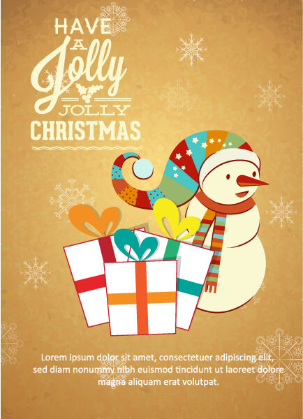 Christmas Vector illustration with snowman and gift Vector Illustrations old