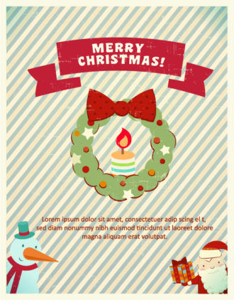 Christmas Vector illustration with snowman and santa Vector Illustrations tree
