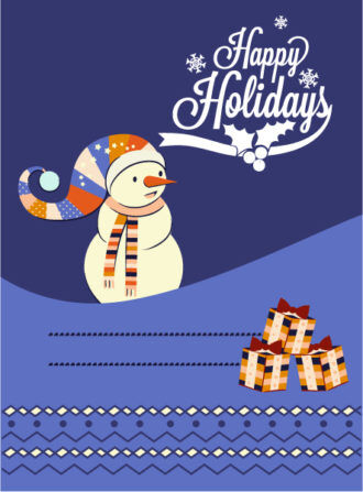 Christmas Vector illustration  with snowman and gift Vector Illustrations tree
