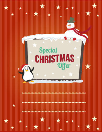 Christmas Vector illustration  with penguin and snowman Vector Illustrations tree