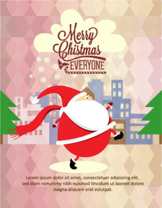 Christmas Vector illustration with santa and city Vector Illustrations tree