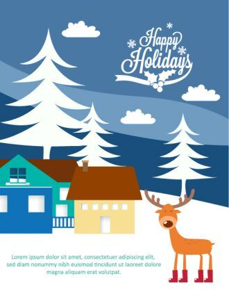 Christmas Vector illustration with deer and house Vector Illustrations tree