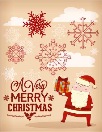 Christmas Vector illustration with santa, snowflakes Vector Illustrations vector
