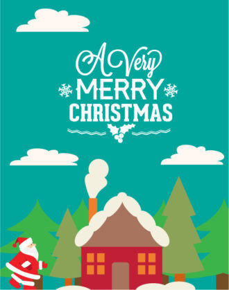 Christmas Vector illustration with santa and house Vector Illustrations tree