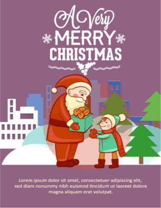 Christmas Vector illustration with santa and kid Vector Illustrations tree
