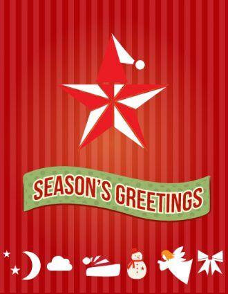 Christmas Vector illustration with  christmas star and hat Vector Illustrations star
