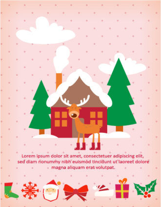 Christmas Vector illustration with  trees and house Vector Illustrations vector