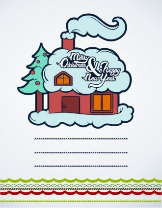 Christmas Vector illustration with house and christmas tree Vector Illustrations tree