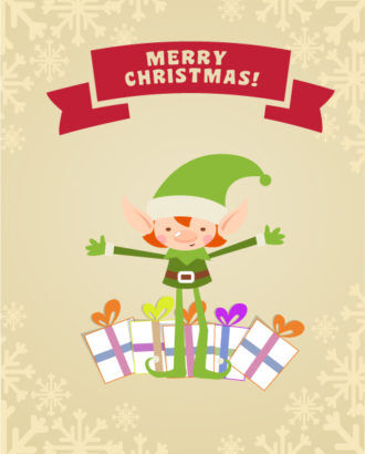 Christmas Vector illustration with elf Vector Illustrations star