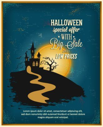 Halloween Vector illustration  with castle, road, clouds Vector Illustrations tree