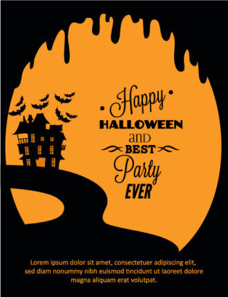Halloween Vector illustration  with castle Vector Illustrations tree