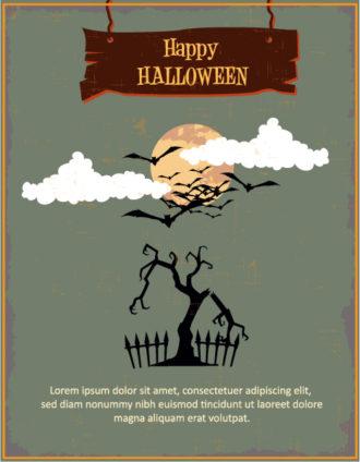 Halloween Vector illustration  with tree, moon and clouds Vector Illustrations tree