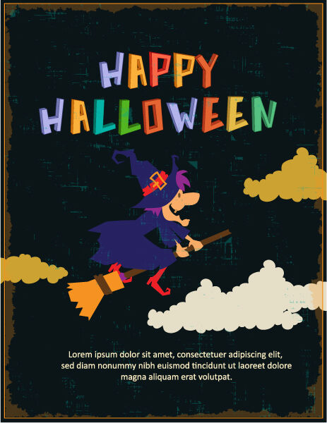 Halloween Vector illustration with witch Vector Illustrations star