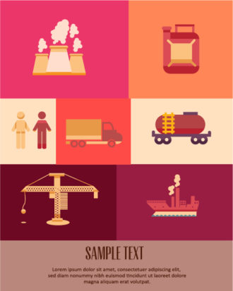 Vector illustration with industrial icons Vector Illustrations vector