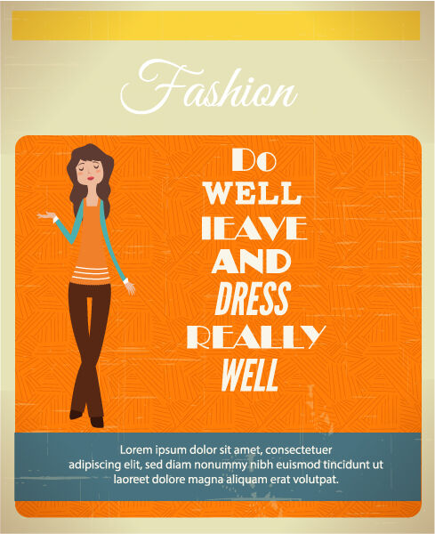 Vector illustration with fashion typography and woman Vector Illustrations vector