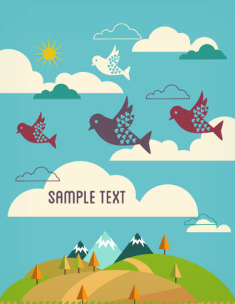 Vector background illustration with bird Vector Illustrations city