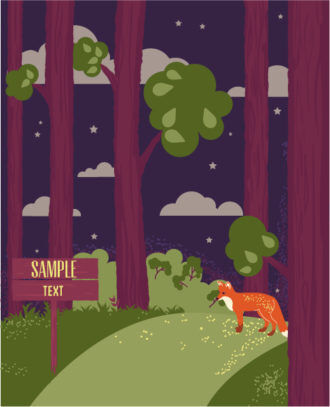 Vector background illustration with city, trees, clouds and fox Vector Illustrations city