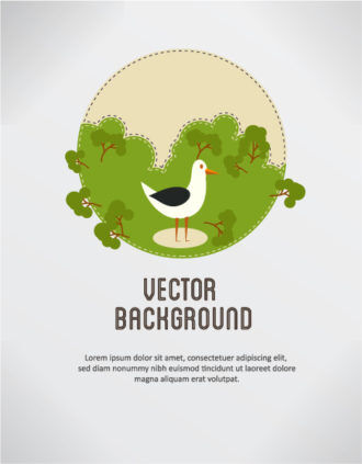 Vector background illustration with bird and trees Vector Illustrations summer