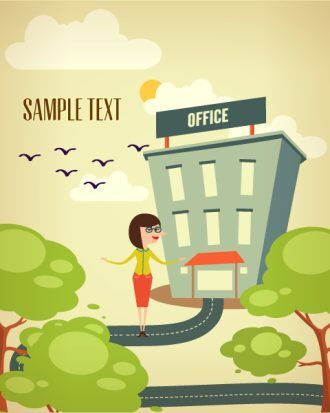 Vector illustration with buildings and people Vector Illustrations summer