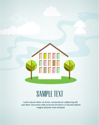 Vector illustration with house Vector Illustrations summer
