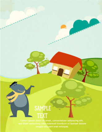 Vector background illustration with animals, house, trees and clouds Vector Illustrations urban