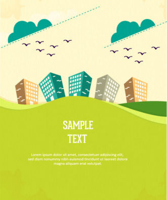 Vector background illustration with tree, clouds and buildings Vector Illustrations tree
