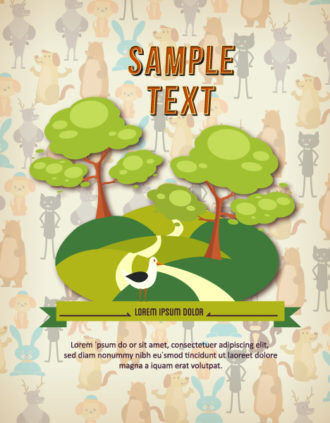Vector background illustration with animals and trees Vector Illustrations tree