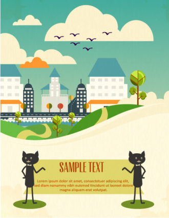 Vector background illustration with clouds,cats, buildings, Vector Illustrations urban