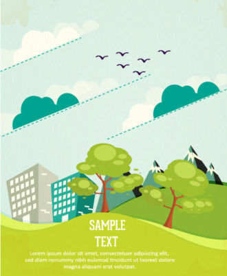 Vector background illustration with tree,mountains,clouds, and buildings Vector Illustrations tree