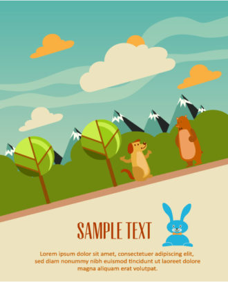 Vector background illustration with tree, dog and bear Vector Illustrations urban