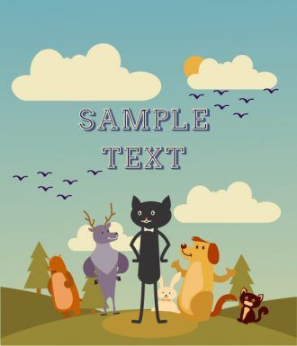 Vector background illustration with cat, dog, bear, deer, trees and clouds Vector Illustrations tree