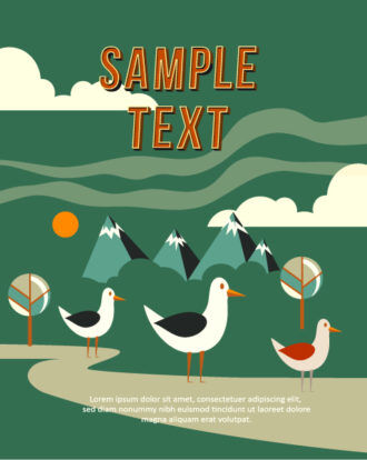 Vector background illustration with  bird,tree and clouds Vector Illustrations urban