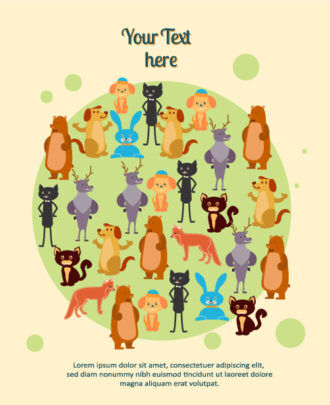 Vector background illustration with animals Vector Illustrations urban