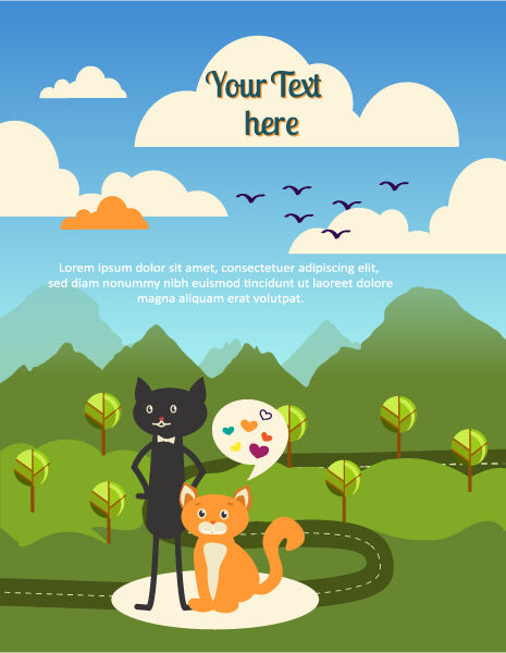 Vector background illustration with cat, tree, cloud, mountain Vector Illustrations tree